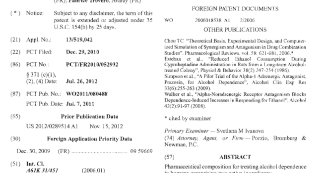 Our composition patent now granted in USA